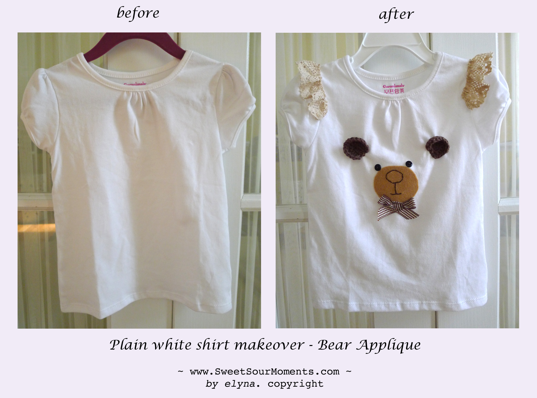 Plain shirt makeover with bear applique sweetsourmoments