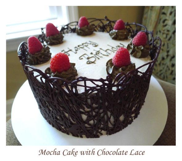 mocha cake with chocolate lace