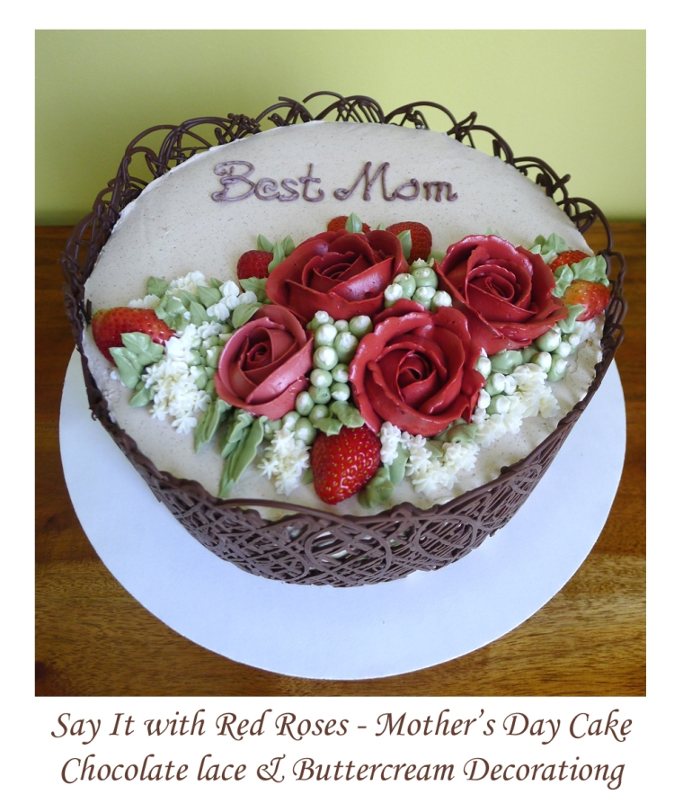 red roses mothersday cake